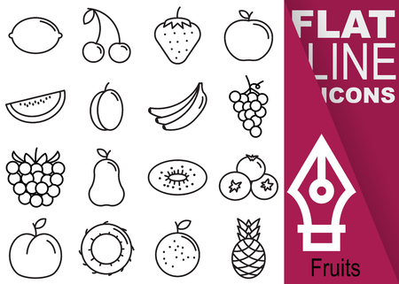 Editable stroke Simple Set of fruits vector sixteen flat line Icons with vertical banner.