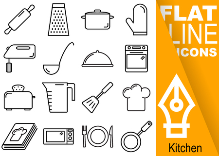 Editable stroke Simple Set of kitchen vector sixteen flat line Icons with vertical banner.
