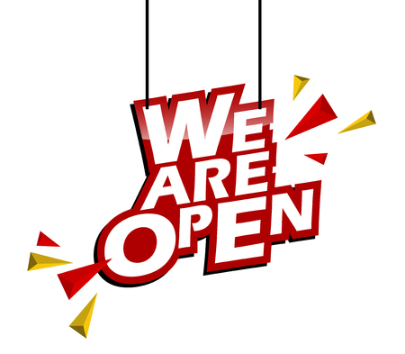 red and yellow tag we are open 스톡 콘텐츠 - 111839988