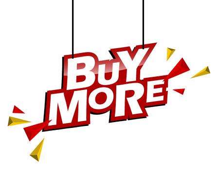 etiqueta roja y amarilla comprar más Ilustración de vector