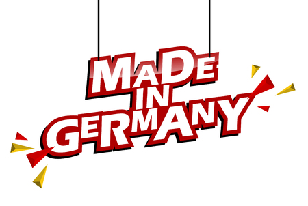 red and yellow tag made in germany Illustration