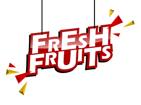 red and yellow tag fresh fruits Vectores