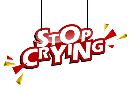 red and yellow tag stop crying Illustration