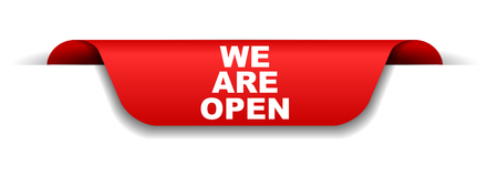 red banner we are open