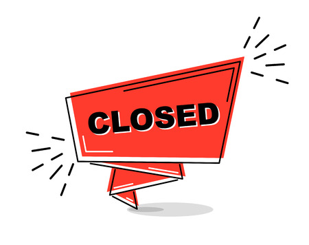 red flat line banner closed