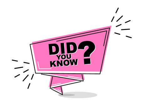 banner de línea plana violeta ¿sabías? Ilustración de vector