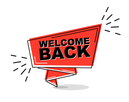 red flat line banner welcome back