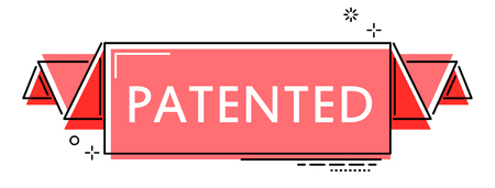 banner de línea plana roja patentada