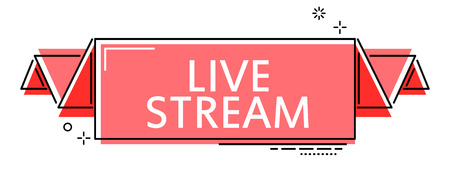 red flat line banner live stream