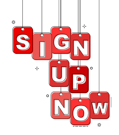 red flat line tag sign up now Illustration