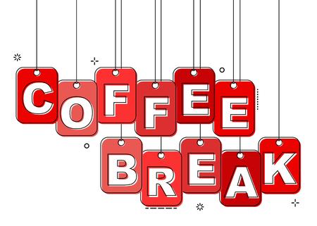red flat line tag coffee break