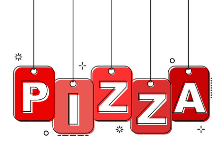 red flat line tag pizza