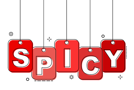red flat line tag spicy 일러스트