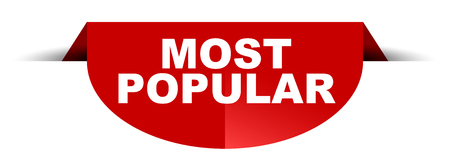 red vector round banner most popular