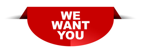 red vector round banner we want you