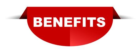 red vector round banner benefits