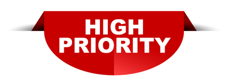 red vector round banner high priority