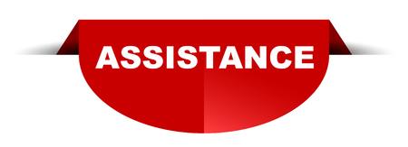 red vector round banner assistance Çizim