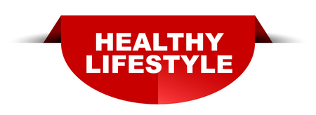 red vector round banner healthy lifestyle