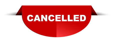 red vector round banner cancelled