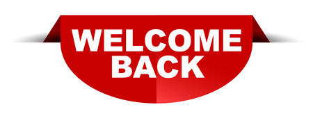 red vector round banner welcome back