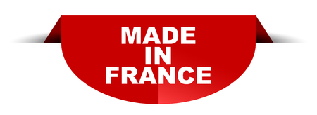 red vector round banner made in france