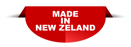 red vector round banner made in new zeland