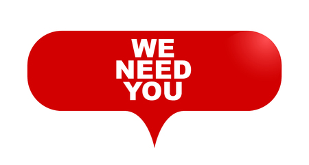 red vector bubble banner we need you