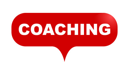 red vector bubble banner coaching