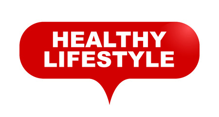 red vector bubble banner healthy lifestyle