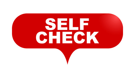 red vector bubble banner self check