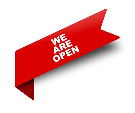 red vector banner ribbon we are open