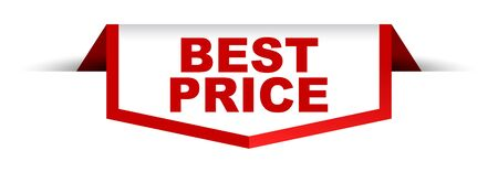 banner rojo y blanco mejor precio Ilustración de vector