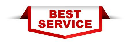 red and white banner best service 向量圖像