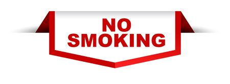 red and white banner no smoking