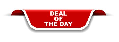 red and white banner deal of the day