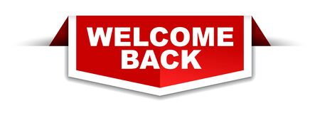 red and white banner welcome back Illustration