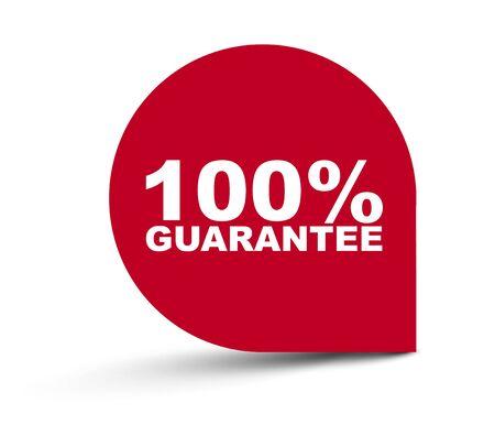red vector banner 100% guarantee