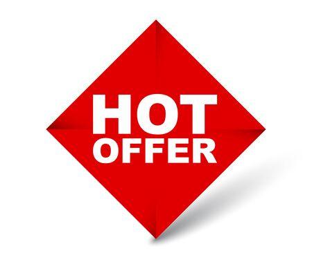 red vector banner hot offer Çizim