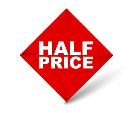 red vector banner half price