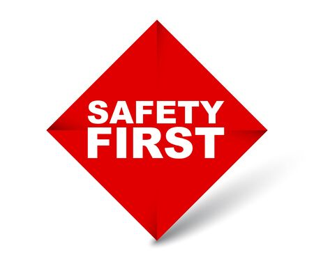 red vector banner safety first