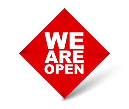 red vector banner we are open 일러스트
