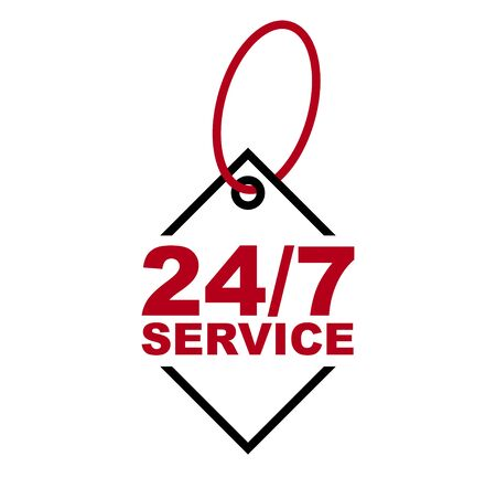 red vector banner 247 service 向量圖像