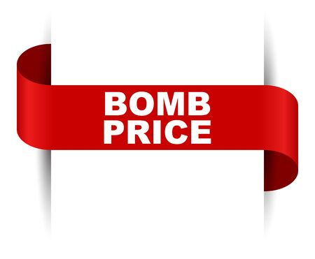 red vector banner bomb price Foto de archivo - 138233768