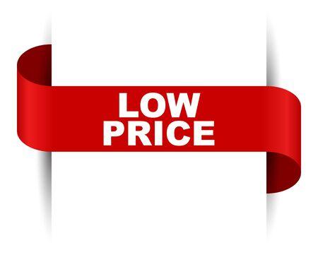 red vector banner low price Foto de archivo - 138239462