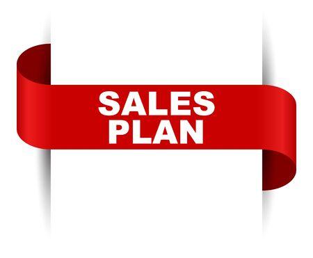 red vector banner sales plan Illustration