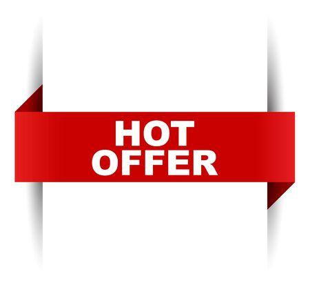 red vector banner hot offer 向量圖像