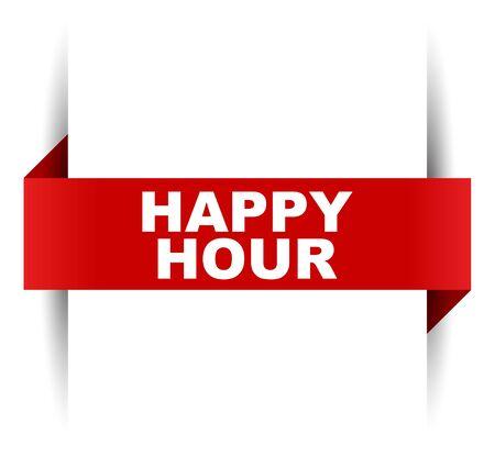 red vector banner happy hour