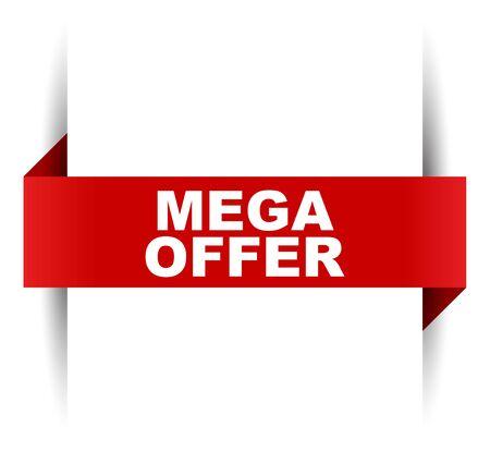 red vector banner mega offer Illusztráció
