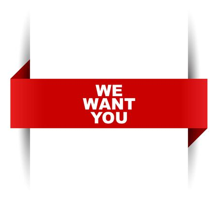 red vector banner we want you